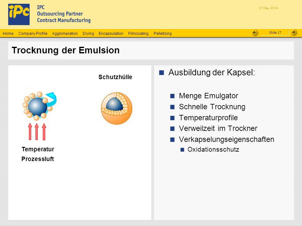 Company ProfileHomeAgglomerationEncapsulationFilmcoatingPelletizingDrying Slide 17 17 May 2014 Trocknung der Emulsion Ausbildung der Kapsel: Menge Emu