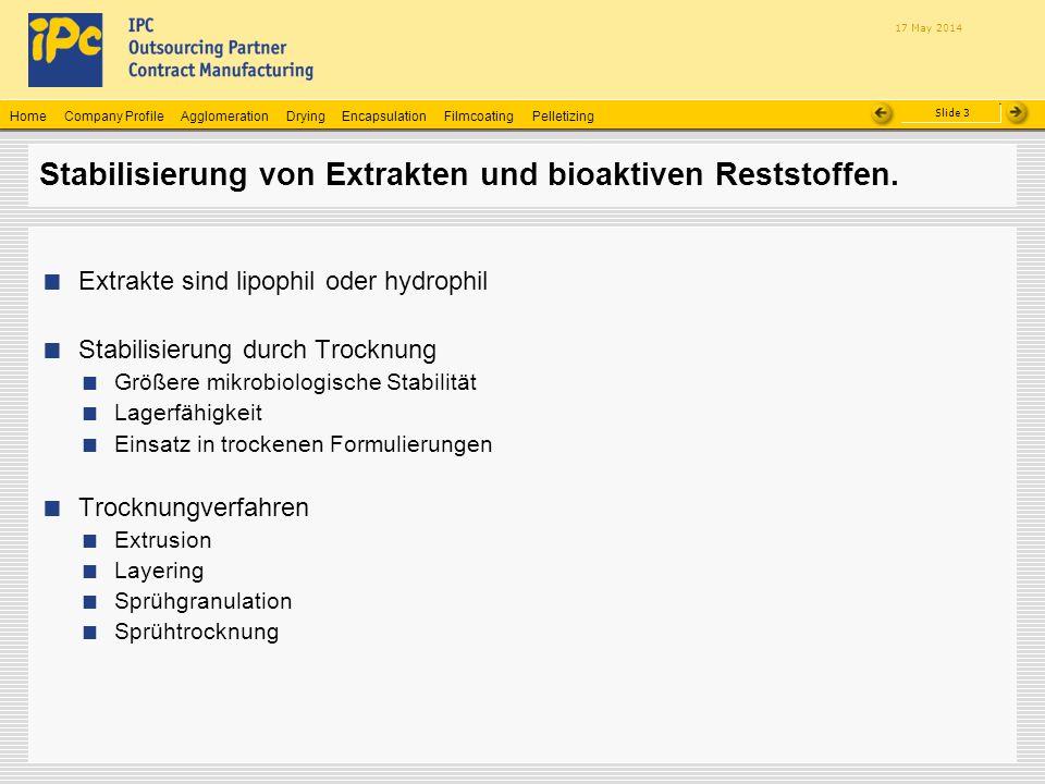Company ProfileHomeAgglomerationEncapsulationFilmcoatingPelletizingDrying Slide 3 17 May 2014 Stabilisierung von Extrakten und bioaktiven Reststoffen.