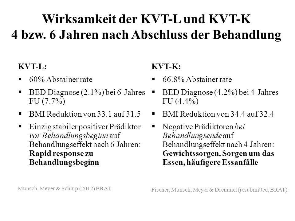 Wirksamkeit der KVT-L und KVT-K 4 bzw. 6 Jahren nach Abschluss der Behandlung KVT-L: 60% Abstainer rate BED Diagnose (2.1%) bei 6-Jahres FU (7.7%) BMI