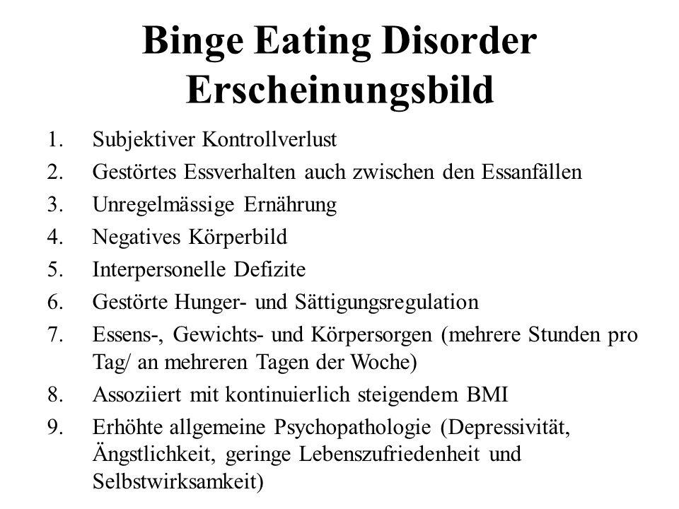 Binge Eating Disorder Erscheinungsbild 1.Subjektiver Kontrollverlust 2.Gestörtes Essverhalten auch zwischen den Essanfällen 3.Unregelmässige Ernährung