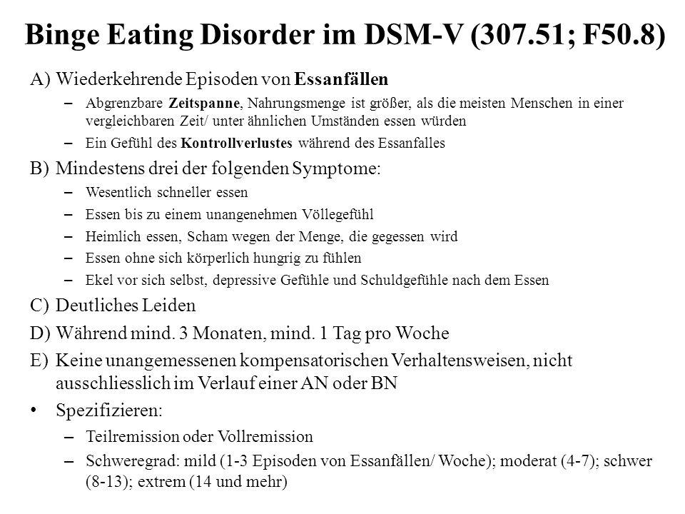 Binge Eating Disorder im DSM-V (307.51; F50.8) A)Wiederkehrende Episoden von Essanfällen – Abgrenzbare Zeitspanne, Nahrungsmenge ist größer, als die m