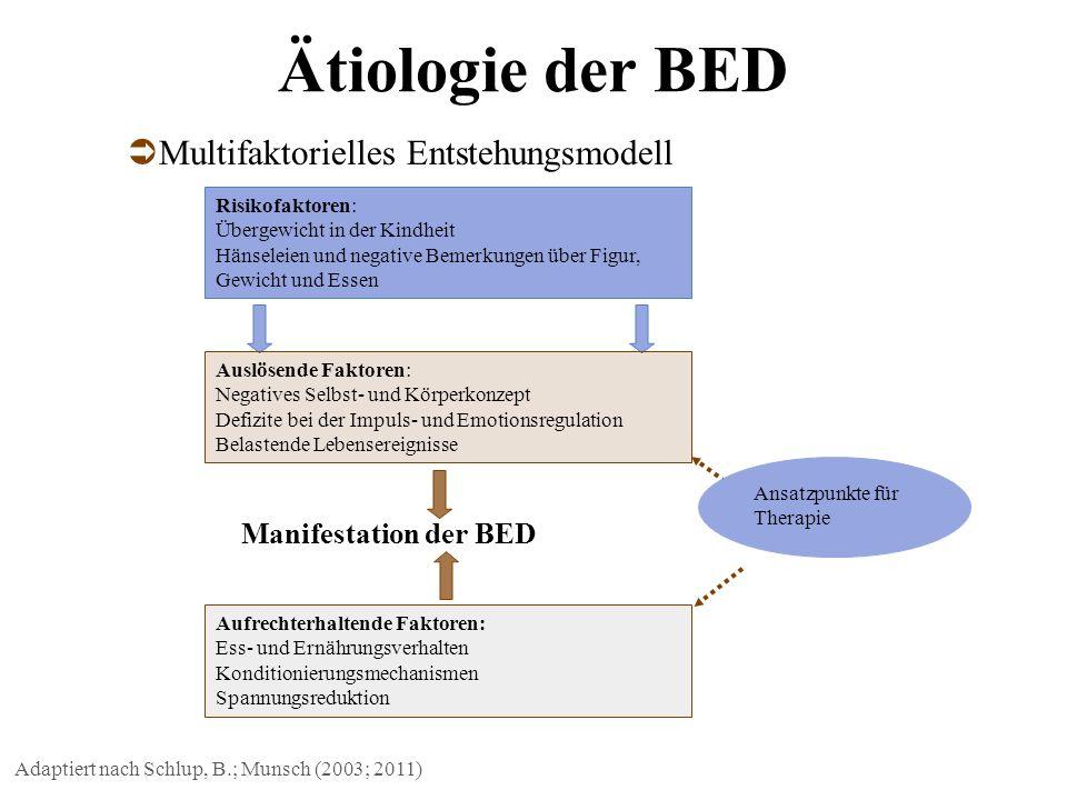 Ätiologie der BED Adaptiert nach Schlup, B.; Munsch (2003; 2011) Manifestation der BED Risikofaktoren: Übergewicht in der Kindheit Hänseleien und nega