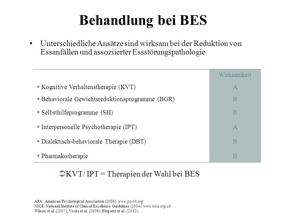 Behandlung bei BES Unterschiedliche Ansätze sind wirksam bei der Reduktion von Essanfällen und assoziierter Essstörungspathologie APA: American Psycho