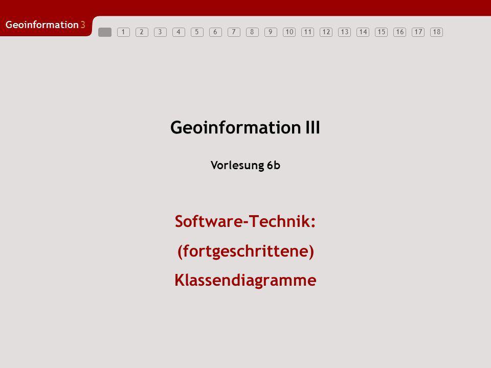 Geoinformation3 123456789101112131415161718 Geoinformation III Software-Technik: (fortgeschrittene) Klassendiagramme Vorlesung 6b
