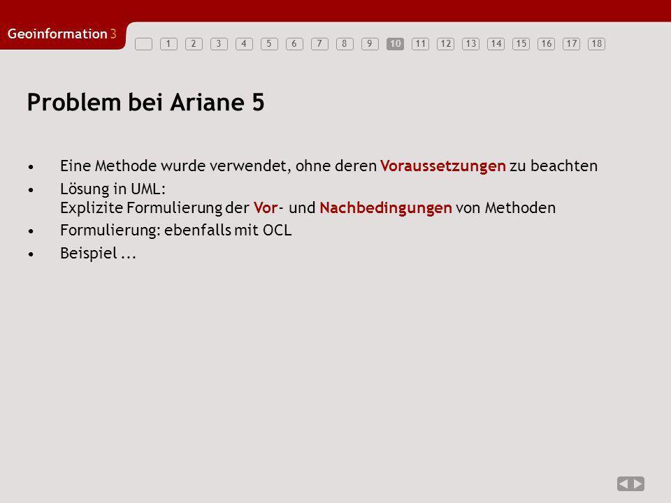 123456789101112131415161718 Geoinformation3 10 Problem bei Ariane 5 Eine Methode wurde verwendet, ohne deren Voraussetzungen zu beachten Lösung in UML
