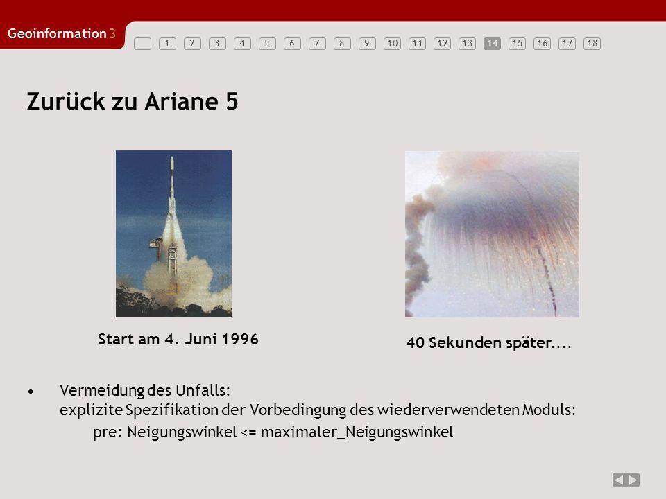 123456789101112131415161718 Geoinformation3 14 Zurück zu Ariane 5 Start am 4. Juni 1996 40 Sekunden später.... Vermeidung des Unfalls: explizite Spezi