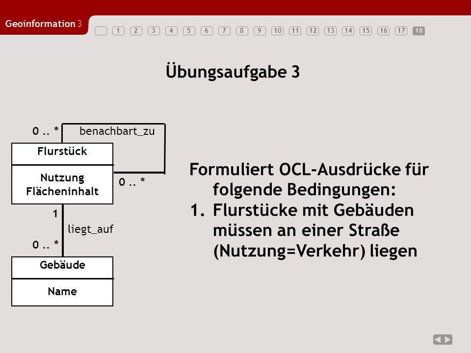 123456789101112131415161718 Geoinformation3 18 Übungsaufgabe 3 Flurstück Nutzung Flächeninhalt Formuliert OCL-Ausdrücke für folgende Bedingungen: 1.Fl