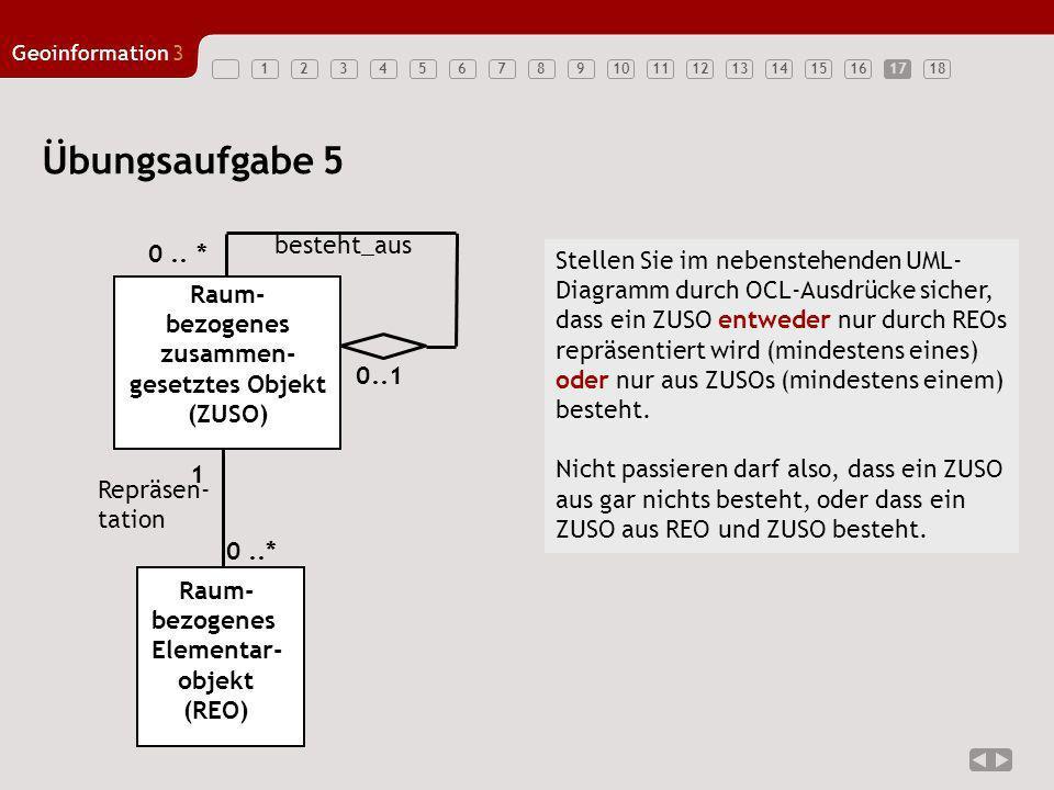123456789101112131415161718 Geoinformation3 Raum- bezogenes Elementar- objekt (REO) 0..* Repräsen- tation 17 Übungsaufgabe 5 Raum- bezogenes zusammen-