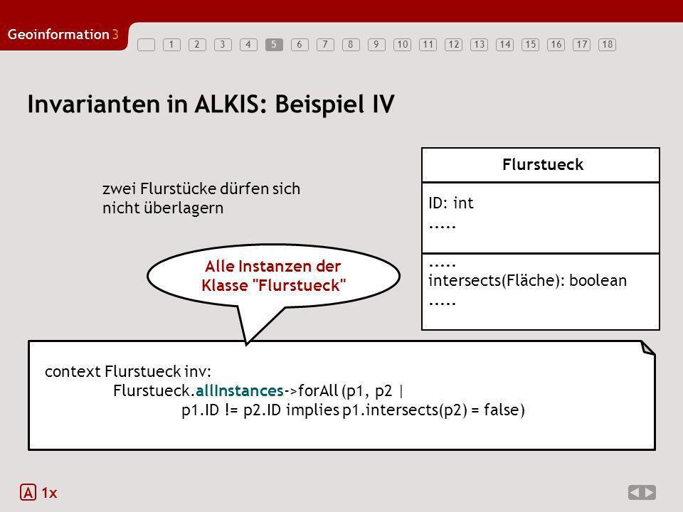 123456789101112131415161718 Geoinformation3 5 Invarianten in ALKIS: Beispiel IV A 1x zwei Flurstücke dürfen sich nicht überlagern context Flurstueck i
