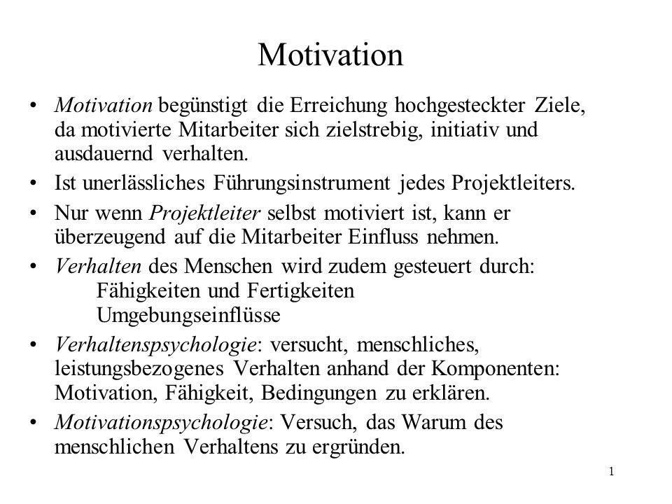 1 Motivation Motivation begünstigt die Erreichung hochgesteckter Ziele, da motivierte Mitarbeiter sich zielstrebig, initiativ und ausdauernd verhalten
