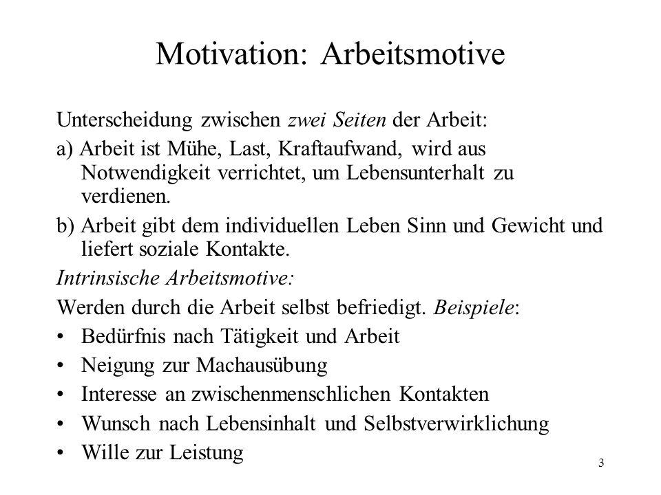 3 Motivation: Arbeitsmotive Unterscheidung zwischen zwei Seiten der Arbeit: a) Arbeit ist Mühe, Last, Kraftaufwand, wird aus Notwendigkeit verrichtet,
