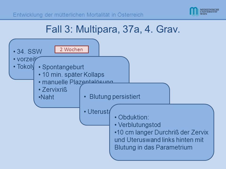 Entwicklung der mütterlichen Mortalität in Österreich 34. SSW vorzeitiger Blasensprung Tokolyse Fall 3: Multipara, 37a, 4. Grav. Spontangeburt 10 min.