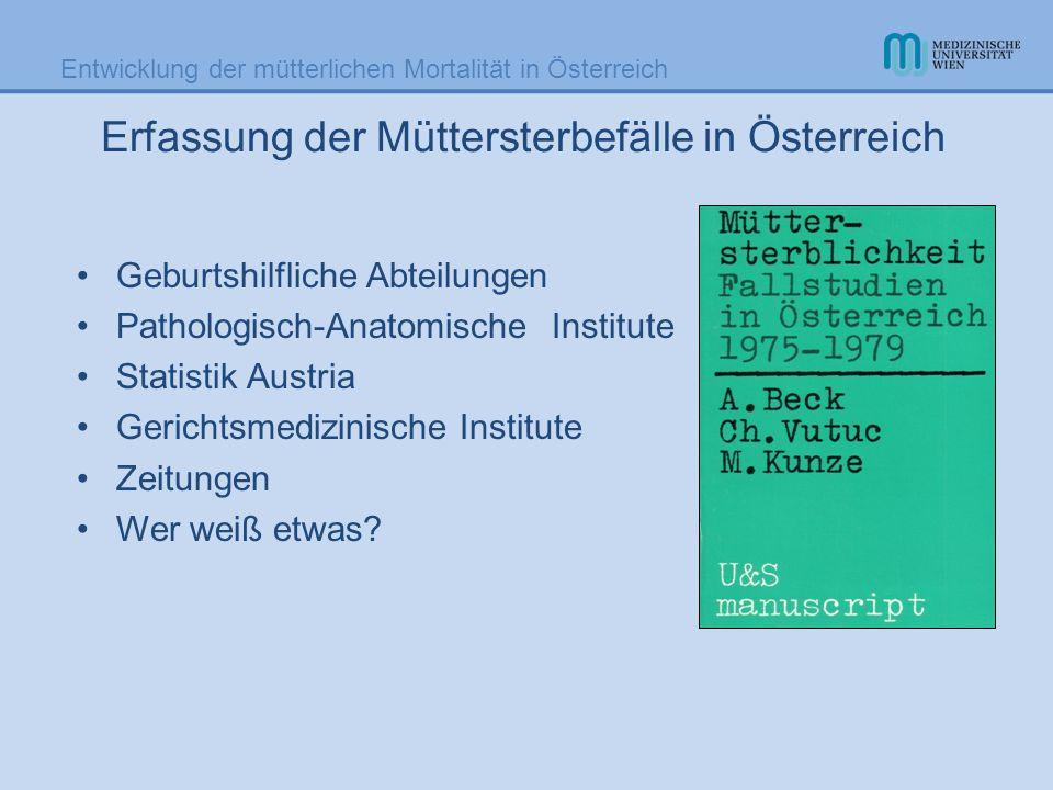 Entwicklung der mütterlichen Mortalität in Österreich Erfassung der Müttersterbefälle in Österreich Geburtshilfliche Abteilungen Pathologisch-Anatomis