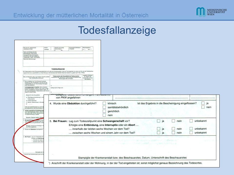 Entwicklung der mütterlichen Mortalität in Österreich Müttersterblichkeit in Österreich 1946, 1956, 1975, 2006 Diagnose19461956 1975 EFA 2006 EFA Toxikosen 402522 Blutungen 362871 Fehlgeburt 161173 Sepsis 63332 Sonstige Komplikat.