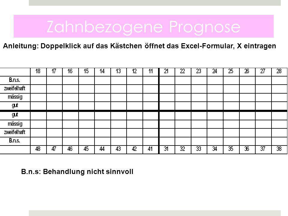 Zahnbezogene Prognose B.n.s: Behandlung nicht sinnvoll Anleitung: Doppelklick auf das Kästchen öffnet das Excel-Formular, X eintragen