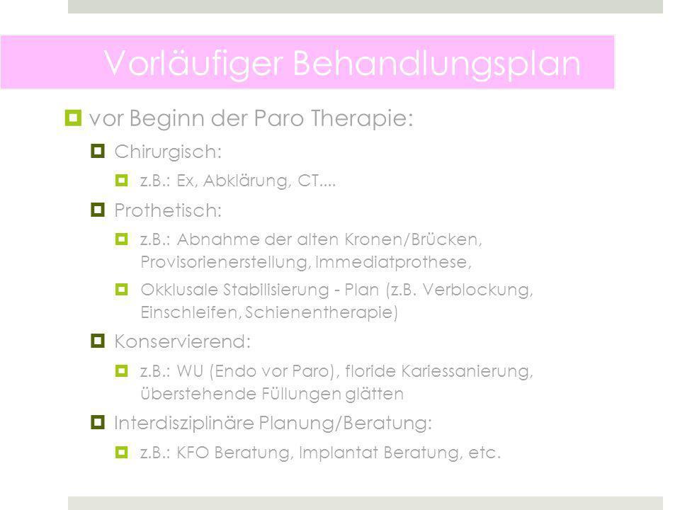Vorläufiger Behandlungsplan vor Beginn der Paro Therapie: Chirurgisch: z.B.: Ex, Abklärung, CT....