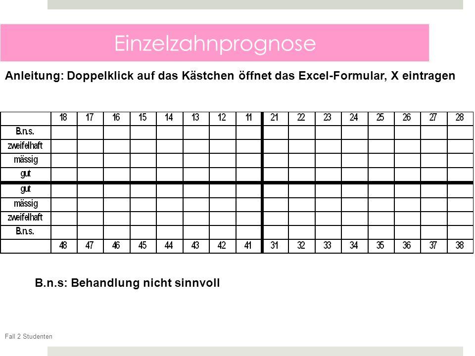 Fall 2 Studenten Einzelzahnprognose B.n.s: Behandlung nicht sinnvoll Anleitung: Doppelklick auf das Kästchen öffnet das Excel-Formular, X eintragen