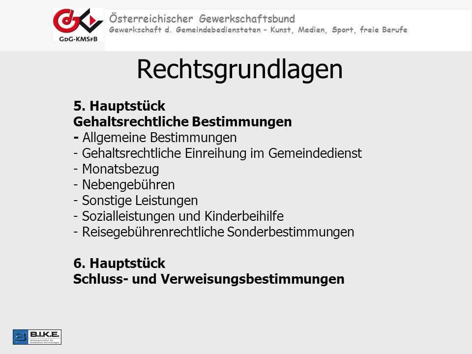 Österreichischer Gewerkschaftsbund Gewerkschaft d. Gemeindebediensteten – Kunst, Medien, Sport, freie Berufe Rechtsgrundlagen 5. Hauptstück Gehaltsrec