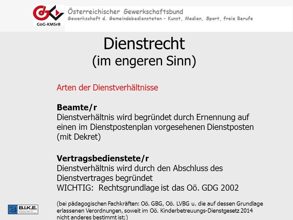 Österreichischer Gewerkschaftsbund Gewerkschaft d. Gemeindebediensteten – Kunst, Medien, Sport, freie Berufe Dienstrecht (im engeren Sinn) Arten der D