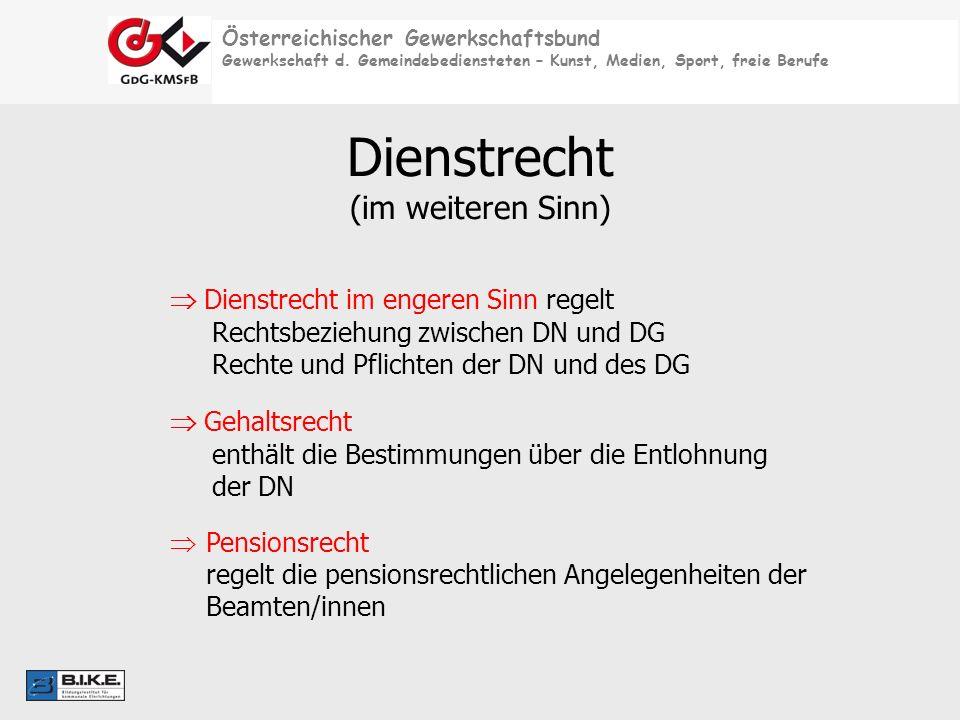 Österreichischer Gewerkschaftsbund Gewerkschaft d. Gemeindebediensteten – Kunst, Medien, Sport, freie Berufe Dienstrecht im engeren Sinn regelt Rechts