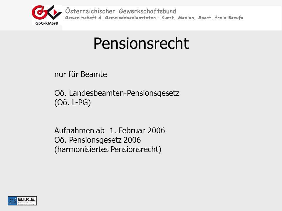 Österreichischer Gewerkschaftsbund Gewerkschaft d. Gemeindebediensteten – Kunst, Medien, Sport, freie Berufe Pensionsrecht nur für Beamte Oö. Landesbe