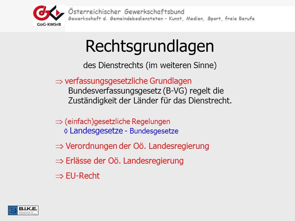 Österreichischer Gewerkschaftsbund Gewerkschaft d. Gemeindebediensteten – Kunst, Medien, Sport, freie Berufe Rechtsgrundlagen des Dienstrechts (im wei