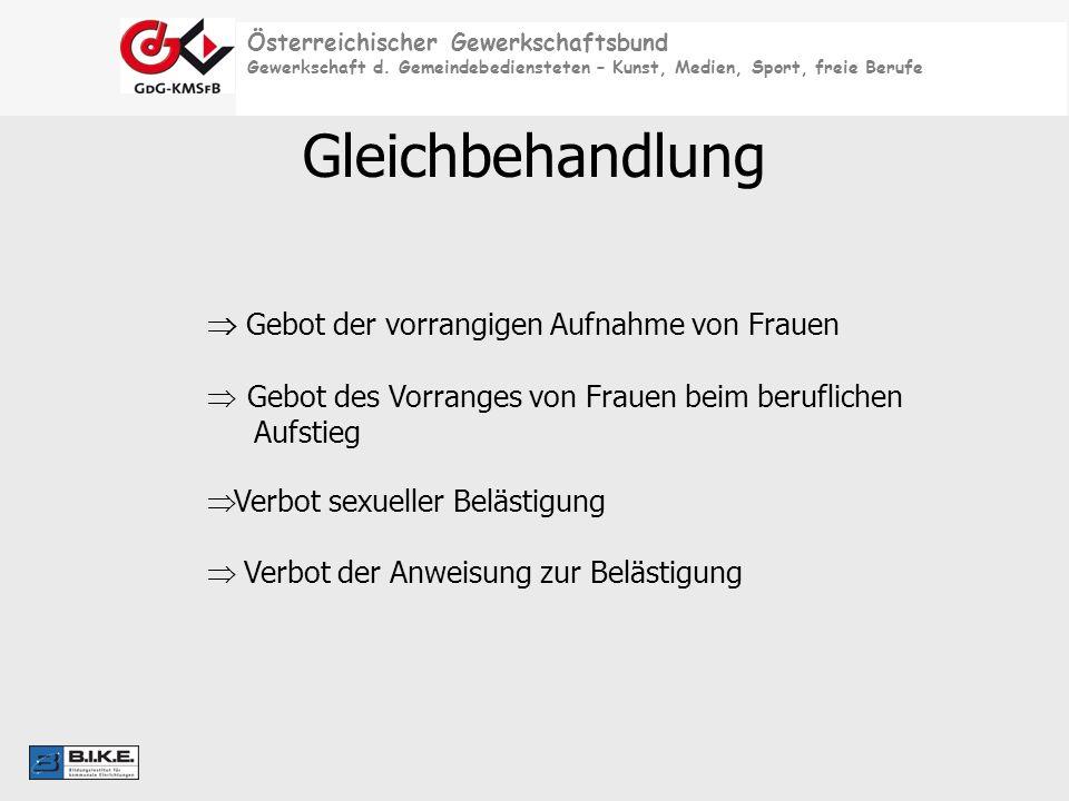 Österreichischer Gewerkschaftsbund Gewerkschaft d. Gemeindebediensteten – Kunst, Medien, Sport, freie Berufe Gleichbehandlung Gebot der vorrangigen Au