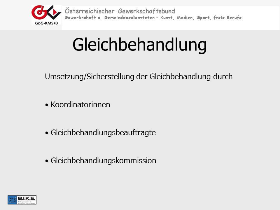 Österreichischer Gewerkschaftsbund Gewerkschaft d. Gemeindebediensteten – Kunst, Medien, Sport, freie Berufe Gleichbehandlung Umsetzung/Sicherstellung