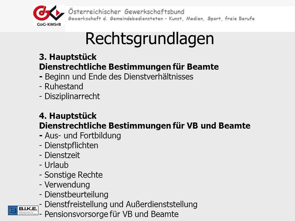 Österreichischer Gewerkschaftsbund Gewerkschaft d. Gemeindebediensteten – Kunst, Medien, Sport, freie Berufe Rechtsgrundlagen 3. Hauptstück Dienstrech