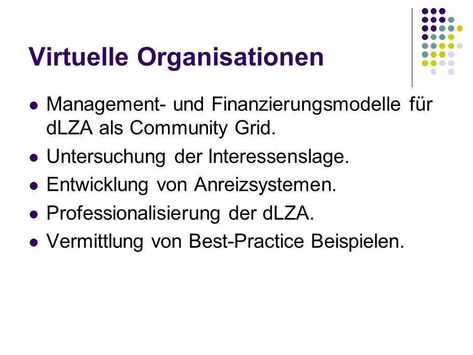 Virtuelle Organisationen Management- und Finanzierungsmodelle für dLZA als Community Grid.