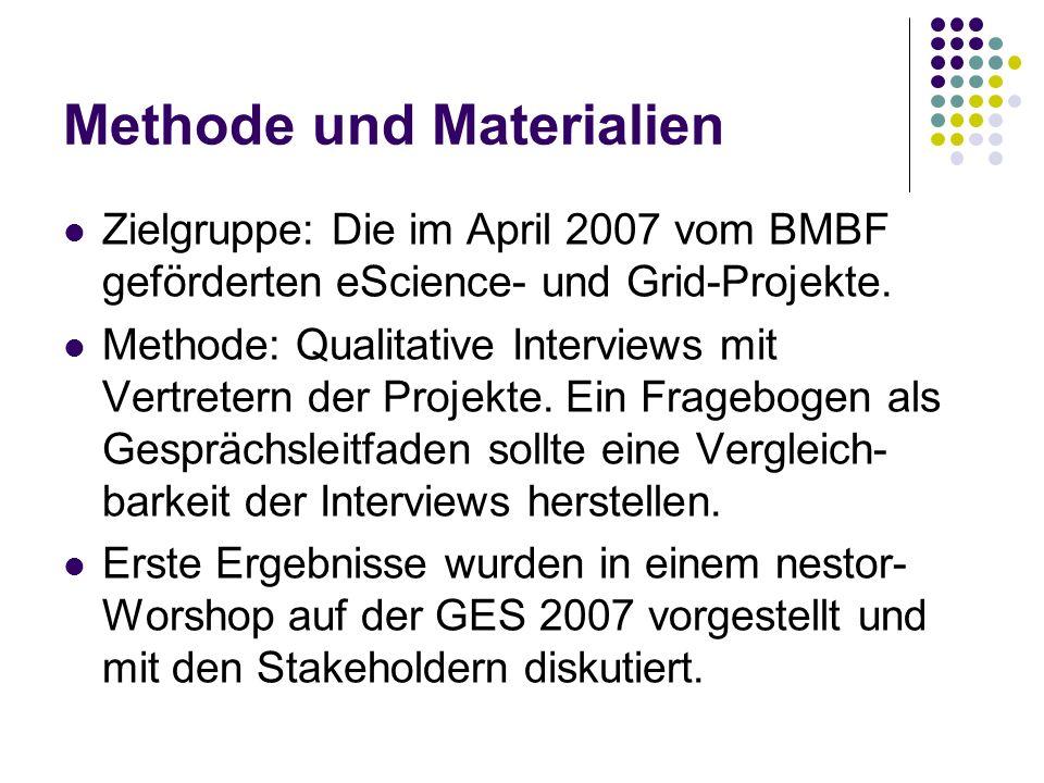 Methode und Materialien Zielgruppe: Die im April 2007 vom BMBF geförderten eScience- und Grid-Projekte.