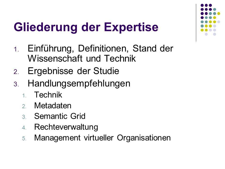 Gliederung der Expertise 1. Einführung, Definitionen, Stand der Wissenschaft und Technik 2.
