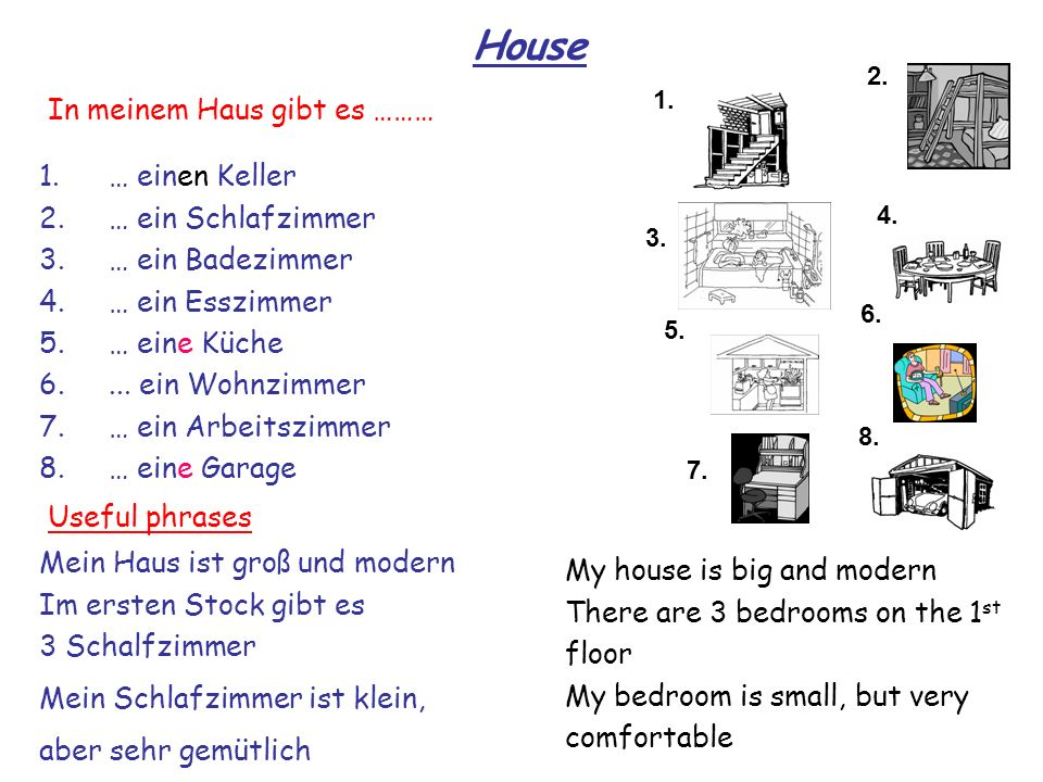 House 1. 2. 3. 4. 8. 7. 6. 5.