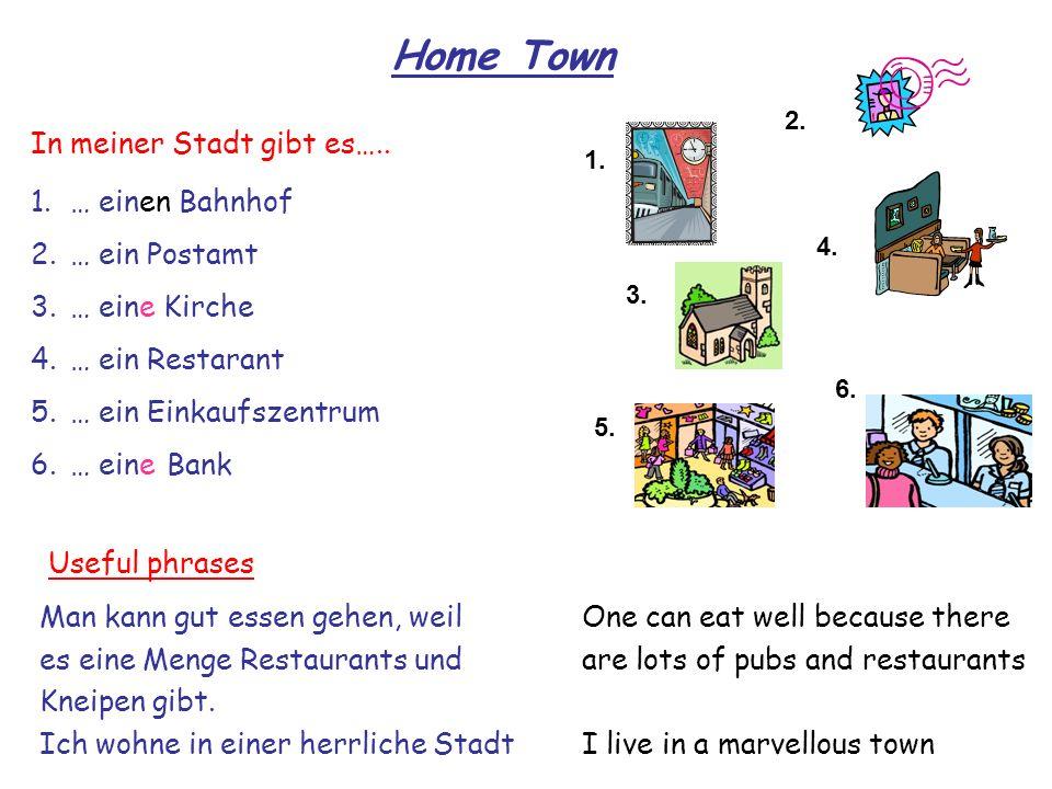 1. 2. 6. 5. 3. 4. Home Town 1.… einen Bahnhof 2.… ein Postamt 3.… eine Kirche 4.… ein Restarant 5.… ein Einkaufszentrum 6.… eine Bank One can eat well