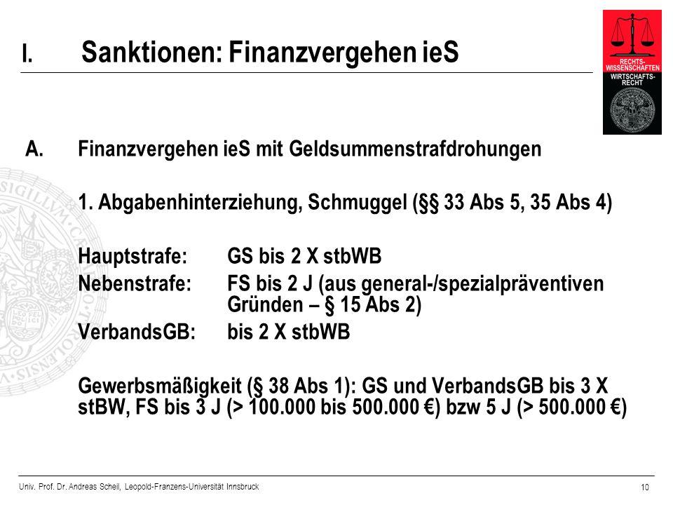 Univ. Prof. Dr. Andreas Scheil, Leopold-Franzens-Universität Innsbruck 10 I. Sanktionen: Finanzvergehen ieS A.Finanzvergehen ieS mit Geldsummenstrafdr