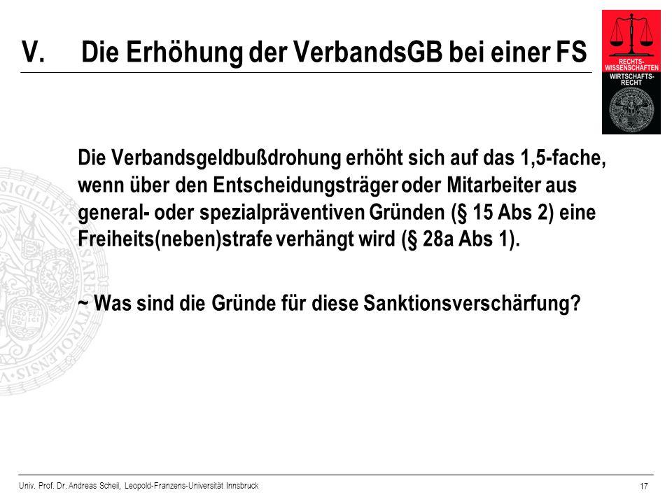 Univ. Prof. Dr. Andreas Scheil, Leopold-Franzens-Universität Innsbruck 17 V.Die Erhöhung der VerbandsGB bei einer FS Die Verbandsgeldbußdrohung erhöht