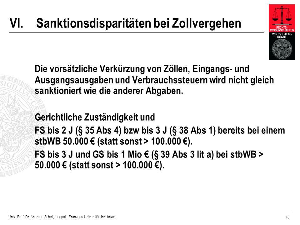 Univ. Prof. Dr. Andreas Scheil, Leopold-Franzens-Universität Innsbruck 18 VI.Sanktionsdisparitäten bei Zollvergehen Die vorsätzliche Verkürzung von Zö