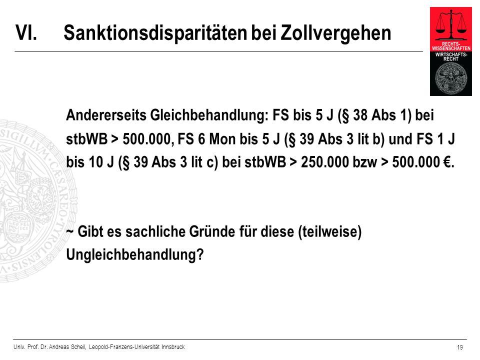 Univ. Prof. Dr. Andreas Scheil, Leopold-Franzens-Universität Innsbruck 19 VI.Sanktionsdisparitäten bei Zollvergehen Andererseits Gleichbehandlung: FS