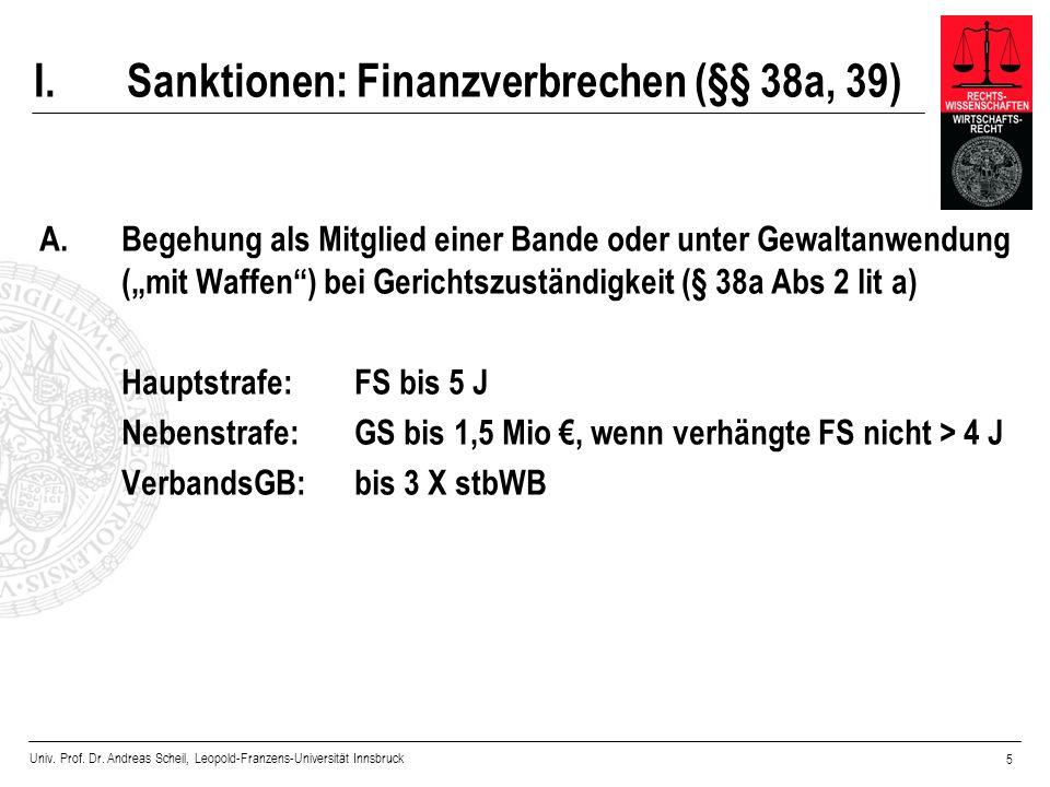 Univ. Prof. Dr. Andreas Scheil, Leopold-Franzens-Universität Innsbruck 5 I.Sanktionen: Finanzverbrechen (§§ 38a, 39) A. Begehung als Mitglied einer Ba