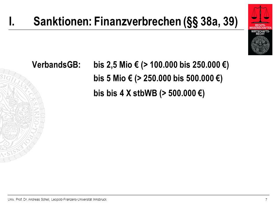 Univ. Prof. Dr. Andreas Scheil, Leopold-Franzens-Universität Innsbruck 7 I. Sanktionen: Finanzverbrechen (§§ 38a, 39) VerbandsGB: bis 2,5 Mio (> 100.0