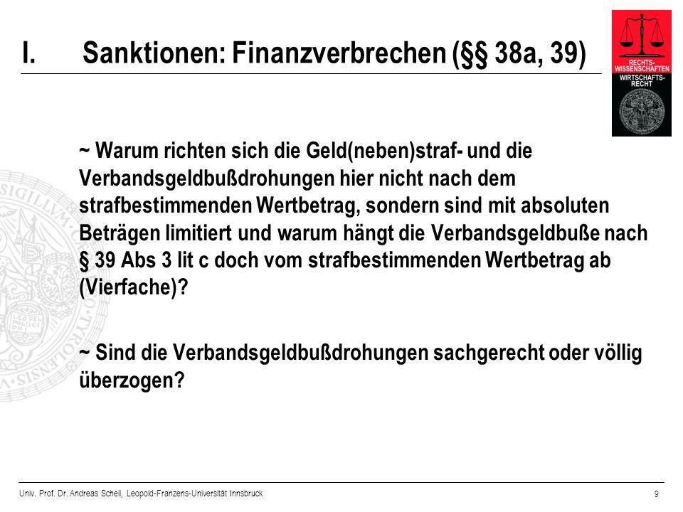 Univ. Prof. Dr. Andreas Scheil, Leopold-Franzens-Universität Innsbruck 9 I.Sanktionen: Finanzverbrechen (§§ 38a, 39) ~ Warum richten sich die Geld(neb