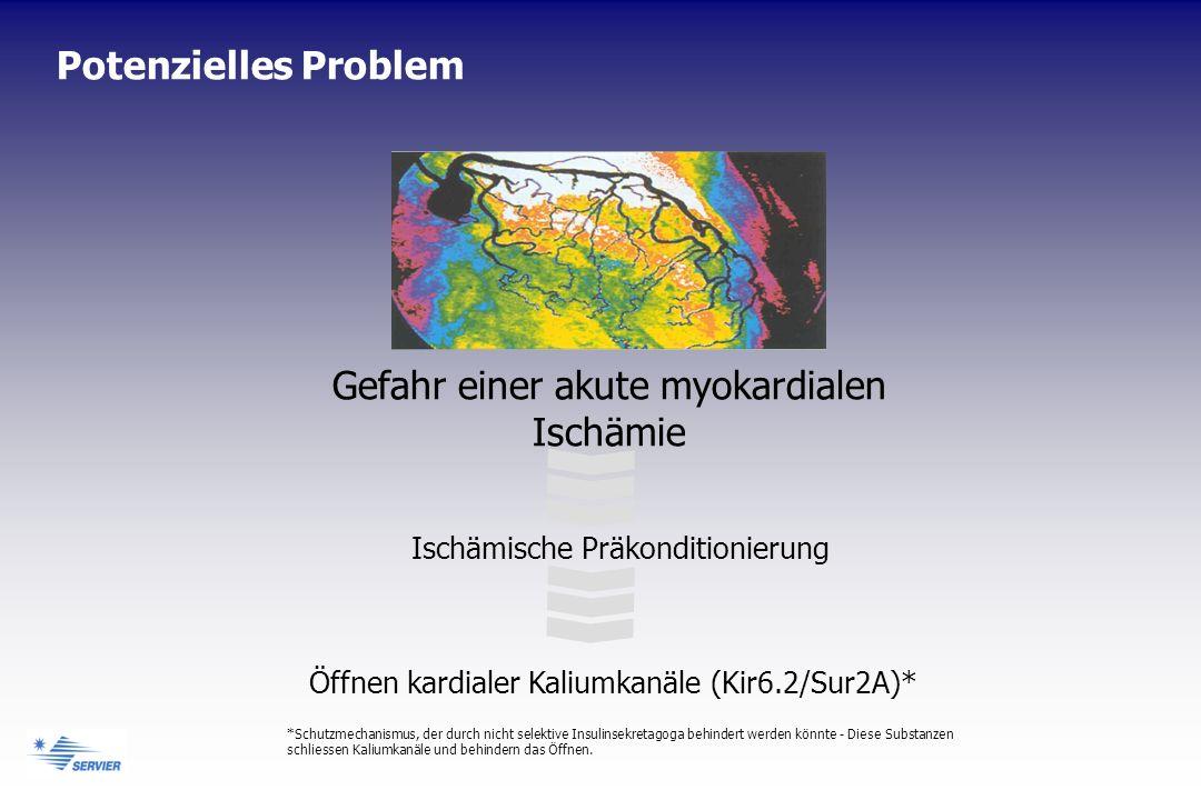 Gefahr einer akute myokardialen Ischämie Ischämische Präkonditionierung Öffnen kardialer Kaliumkanäle (Kir6.2/Sur2A)* *Schutzmechanismus, der durch nicht selektive Insulinsekretagoga behindert werden könnte - Diese Substanzen schliessen Kaliumkanäle und behindern das Öffnen.