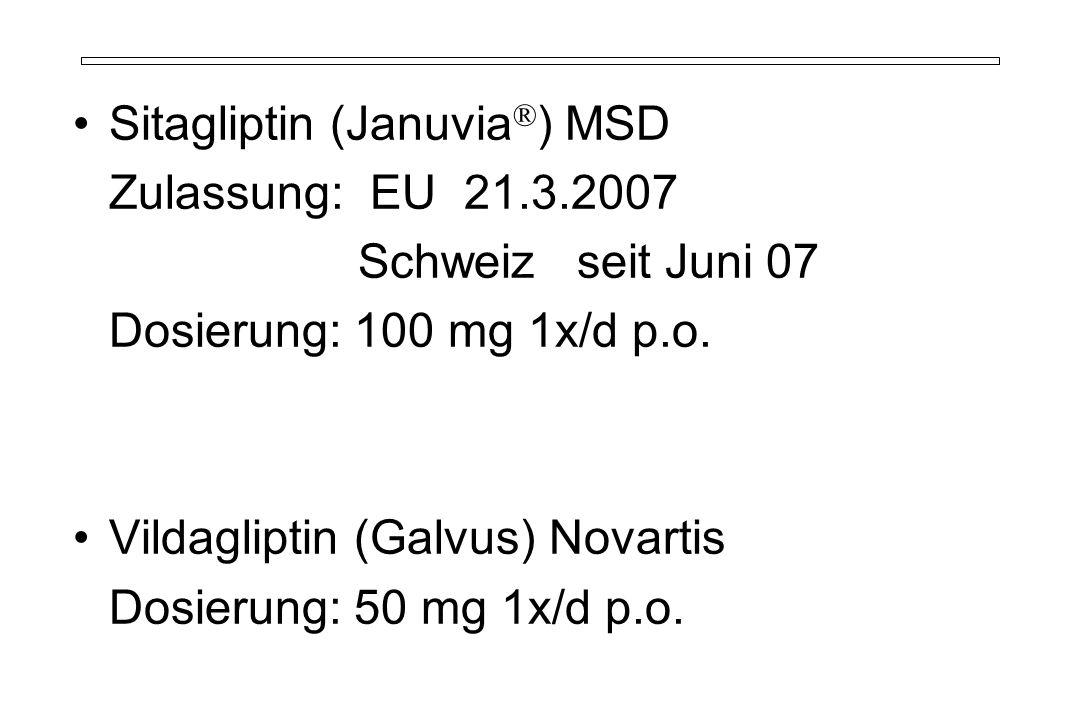 Sitagliptin (Januvia ® ) MSD Zulassung: EU 21.3.2007 Schweiz seit Juni 07 Dosierung: 100 mg 1x/d p.o.