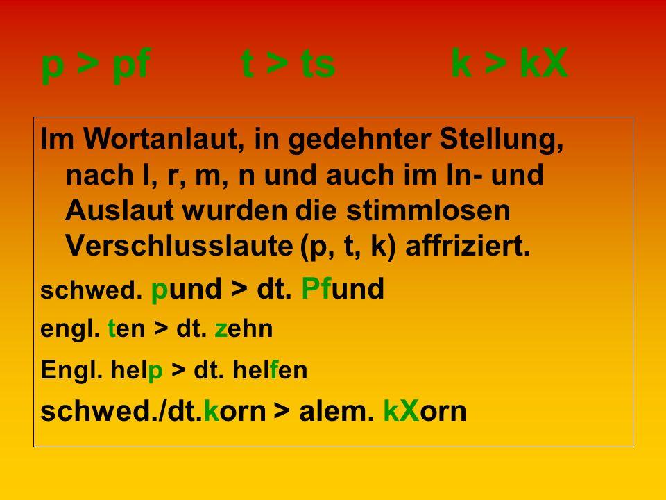 p > pf t > ts k > kΧ Im Wortanlaut, in gedehnter Stellung, nach l, r, m, n und auch im In- und Auslaut wurden die stimmlosen Verschlusslaute (p, t, k)
