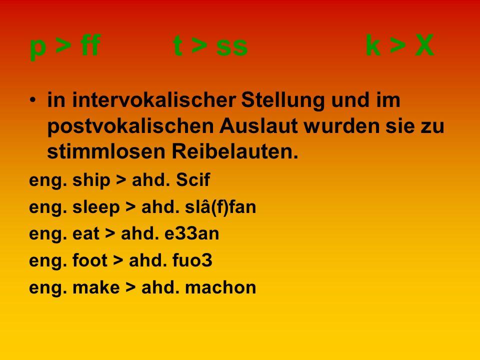 p > fft > ssk > Χ in intervokalischer Stellung und im postvokalischen Auslaut wurden sie zu stimmlosen Reibelauten. eng. ship > ahd. Scif eng. sleep >