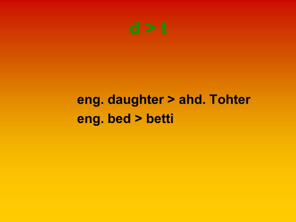 d > t eng. daughter > ahd. Tohter eng. bed > betti