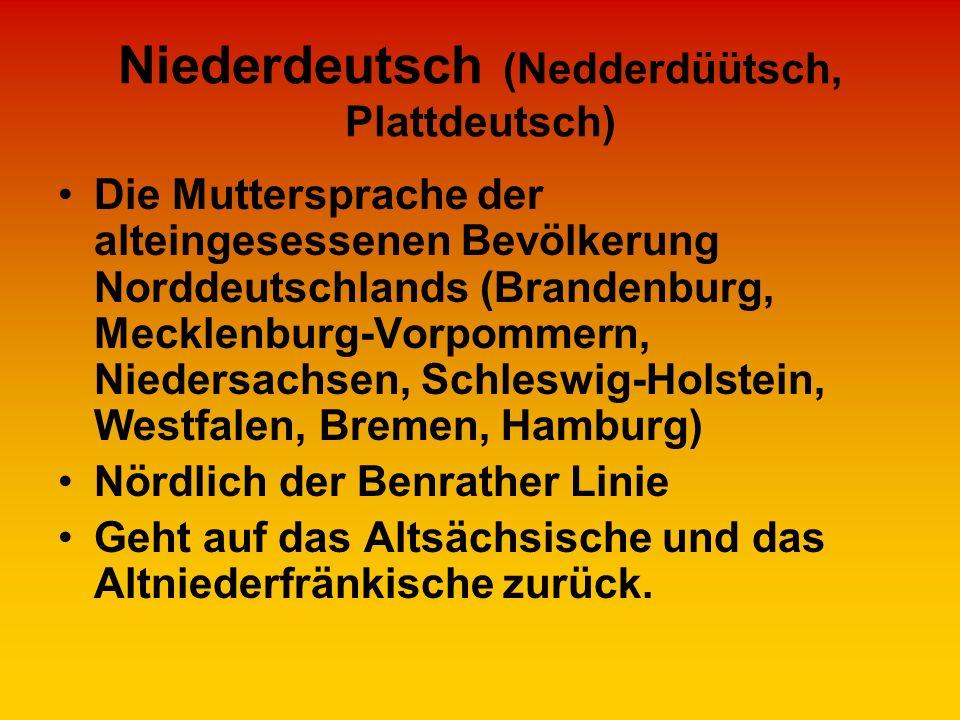Niederdeutsch (Nedderdüütsch, Plattdeutsch) Die Muttersprache der alteingesessenen Bevölkerung Norddeutschlands (Brandenburg, Mecklenburg-Vorpommern,