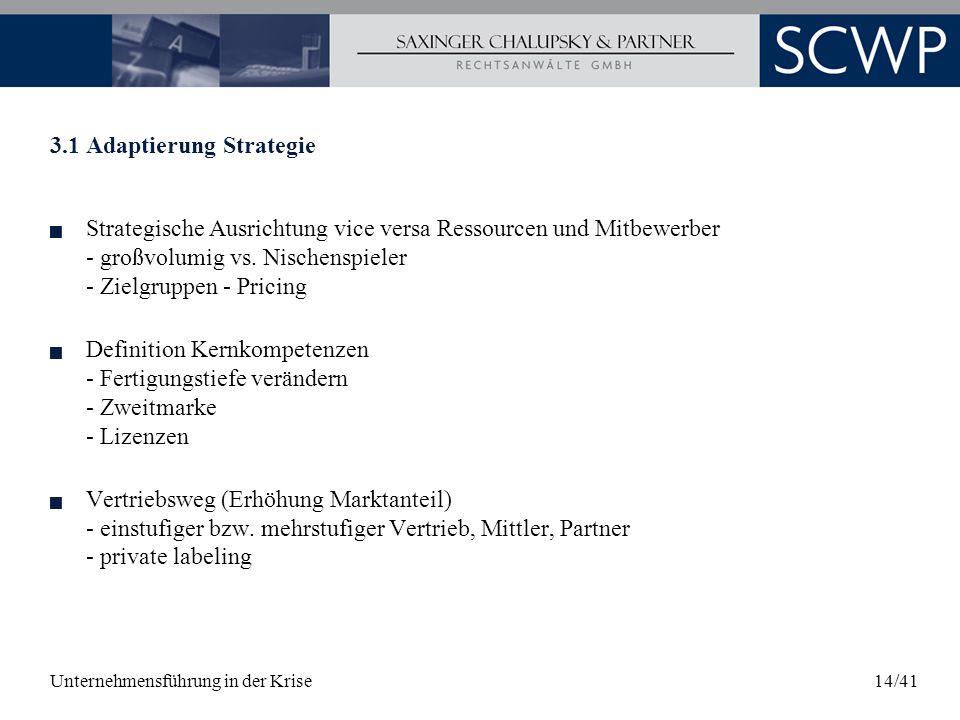 Unternehmensführung in der Krise14/41 3.1 Adaptierung Strategie Strategische Ausrichtung vice versa Ressourcen und Mitbewerber - großvolumig vs. Nisch