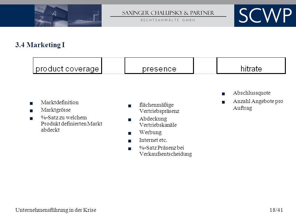 Unternehmensführung in der Krise18/41 3.4 Marketing I Marktdefinition Marktgrösse %-Satz zu welchem Produkt definierten Markt abdeckt flächenmäßige Ve