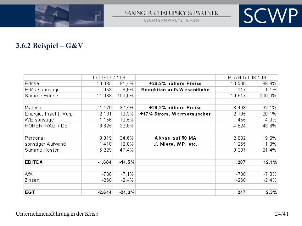 Unternehmensführung in der Krise24/41 3.6.2 Beispiel – G&V